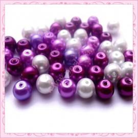 Mixte violet de 100 perles nacrées en verre