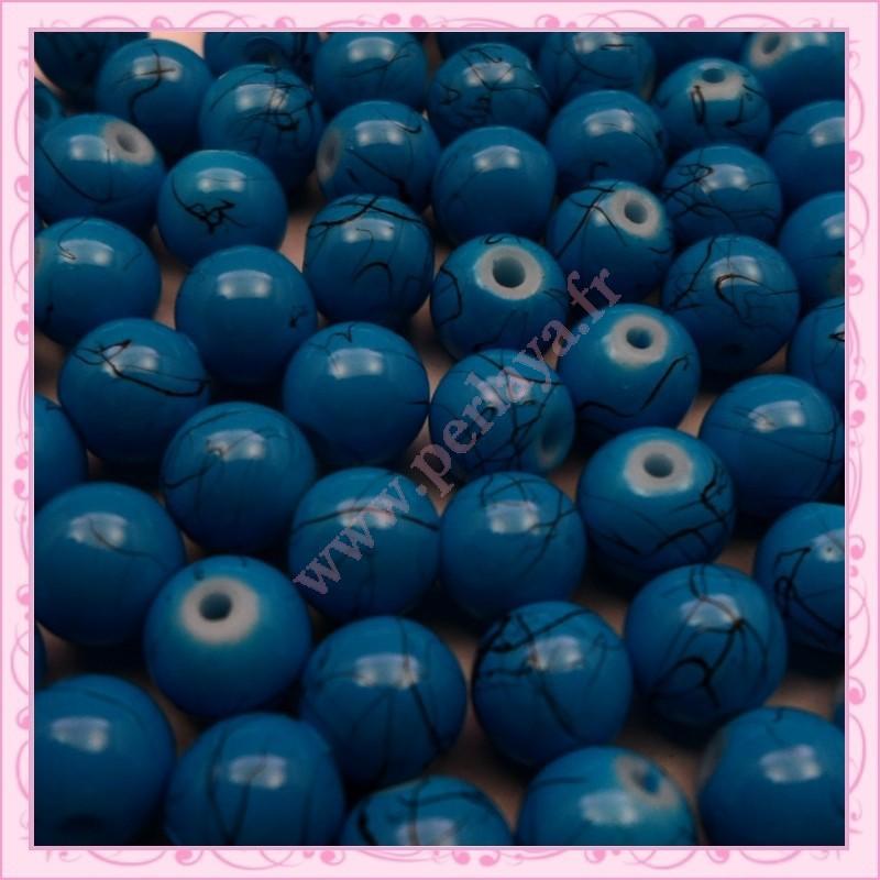 Lot de 100 perles en verre bleu 8mm effet filament