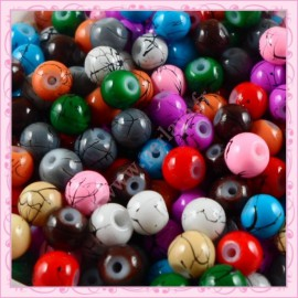 Mix de 200 perles en verre 6mm effet filament