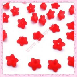 lot de 50 fleurs lucite en acrylique rouge