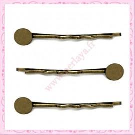 lot de 12 supports barrette cheveux bronze