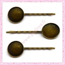 lot de 5 supports barrettes cheveux 18mm bronze