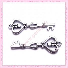 15 grandes breloques clefs argentées en métal