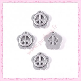 5 petites breloques fleur peace argentées
