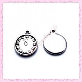 Lot de 15 breloques horloge en métal argentées 2.2cm