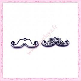 15 breloques moustache en métal argentées 2.2cm