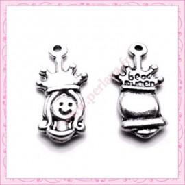 Lot de 15 breloques princesse métal argentées 1.9cm