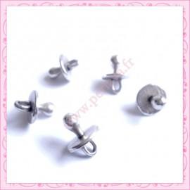 Lot de 15 breloques sucette pour bébé en métal argentées 1.3cm