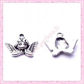 Lot de 15 breloques anges en métal argentées 1.9cm