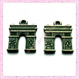 15 breloques Arc de Triomphe en métal bronze 1.8cm