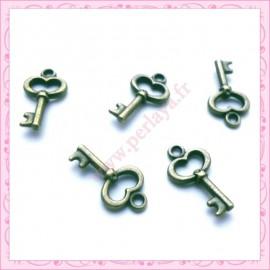 15 breloques clef en métal bronze 1.5cm