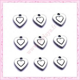 15 breloques coeurs en métal argentés 10mm