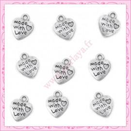 20 breloques coeur en métal argentées 1cm