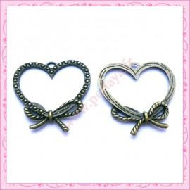 15 breloques coeur en métal bronze 3cm