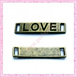 15 breloques LOVE en métal bronze 2.8cm