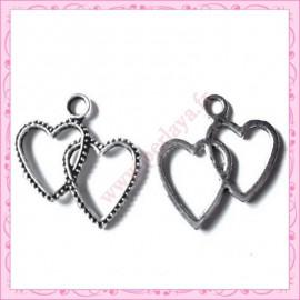Lot de 15 breloques coeur en métal argentées 2.3cm