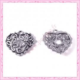 15 breloques coeur en métal argentées 2cm