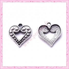 15 breloques coeur en métal argentées 1.7cm
