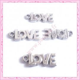 Lot de 15 breloques LOVE en métal argentées 2.2cm