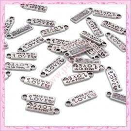 """Lot de 15 breloques """"made with love"""" en métal argentées 1.8cm"""