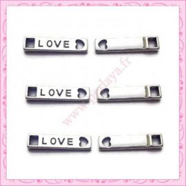 Lot de 15 breloques LOVE en métal argentées 2.1cm
