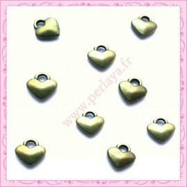 Lot de 15 breloques coeur en métal bronze 8mm