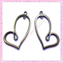 15 breloques coeur en métal bronze 4.2cm