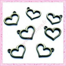 Lot de 15 breloques coeur en métal bronze 1.5cm