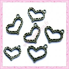 15 breloques coeur en métal bronze 1.9cm