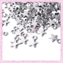 100 breloques étoiles argentés 11mm