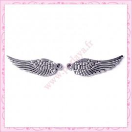 Lot de 5 breloques argentées ailes 3cm