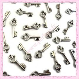 Lot de 50 breloques clefs argentées 2cm