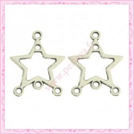 Lot de 15 breloques étoile en métal argentées 1.8cm