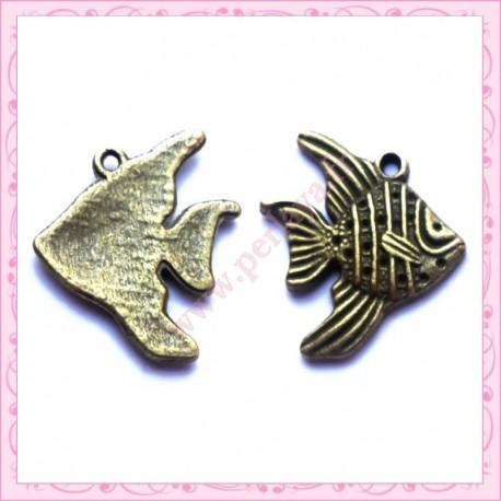 Lot de 15 breloques poisson en métal bronze 2cm