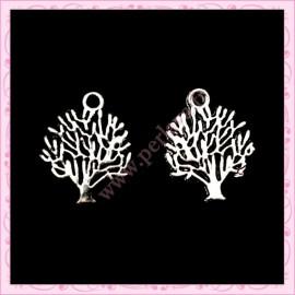 5 breloques feuilles d'arbre argentés