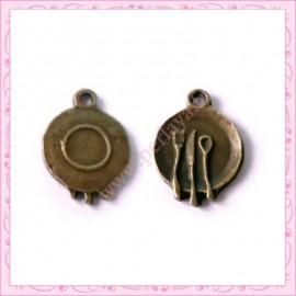 15 breloques assiette en métal bronze 2cm