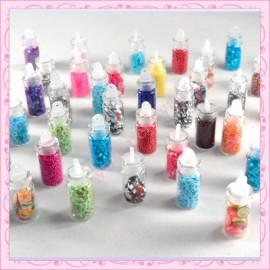 Lot de 48 fioles nail art contenant strass, fimo, micro billes, paillettes…