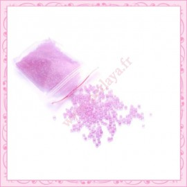 20g de micro-billes en verre transparente rose 1.5mm