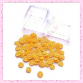 3 boites tranches fimo orange 4mm