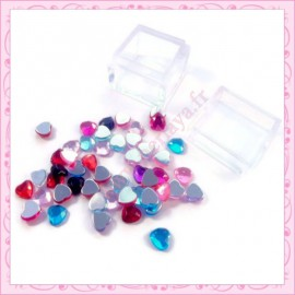 3 boites mix de strass coeur 8mm