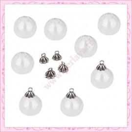 Lot de 10 petits globes en verre rond de 19mm + 10 bélières en cadeau