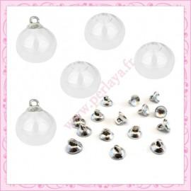 Lot de 20 petits globes en verre rond de 19mm + 20 bélières en cadeau