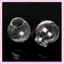 1 globe rond en verre double trou de 25mm