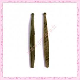 Lot de 15 breloques longue goutte en métal bronze 5.8cm