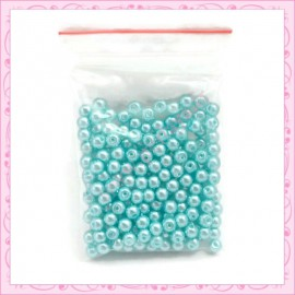 Lot de 200 perles nacrées en verre vert turquoise 4mm
