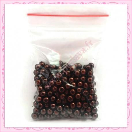 Lot de 200 perles nacrées en verre noires 4mm