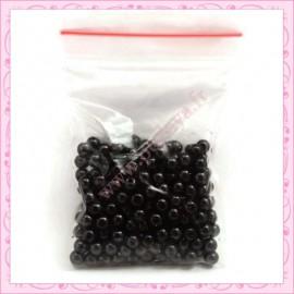 Lot de 200 perles nacrées en verre noires 6mm