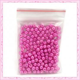 Lot de 200 perles nacrées en verre violette 4mm
