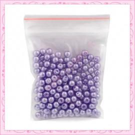 Lot de 200 perles nacrées en verre bleu 4mm