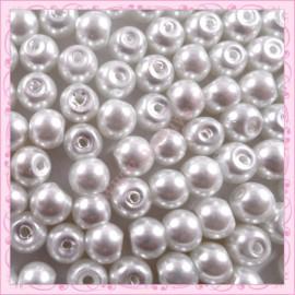 Lot de 200 perles nacrées en verre rose 6mm